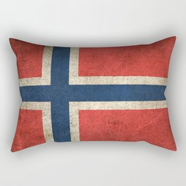 Old and Worn Distressed Vintage Flag of Norway Rectangular Pillow