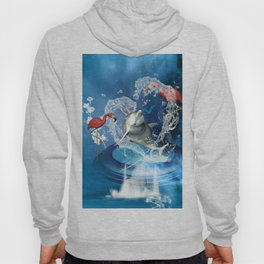 Dolphin jumping by a heart Hoody