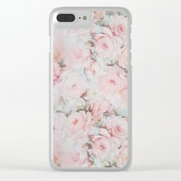 Vintage romantic blush pink teal bohemian roses floral Clear iPhone Case