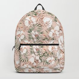 Tropical Orchids and Palms, Watercolor Prints Backpack