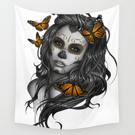 Sugar Skull Tattoo Girl with Butterflies Wall Tapestry