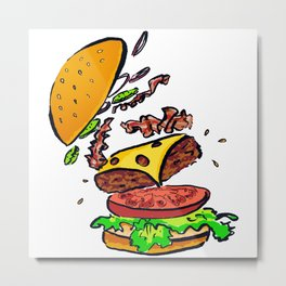 Bacon Cheeseburger Explosion Metal Print
