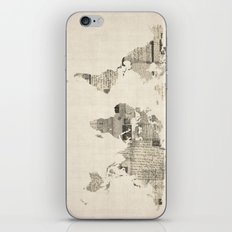 Map of the World Map from Old Postcards iPhone & iPod Skin