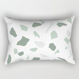 abstract terrazzo stone pattern sage green white Rectangular Pillow