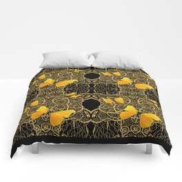Yellow Mariposas (Butterfly) Celtic Gold & black Art Comforters