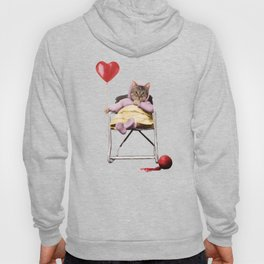 A pretty, little kitty with a heart-shaped balloon Hoody
