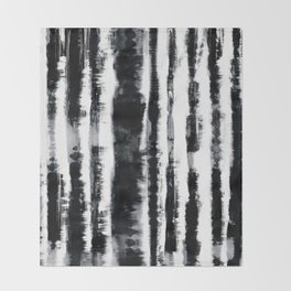 Tie-Dye Shibori Stripe BW Throw Blanket