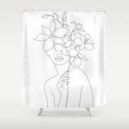 Minimal Line Art Woman with Orchids Shower Curtain