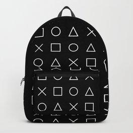 gamer pattern black and white  - gaming design black Backpack