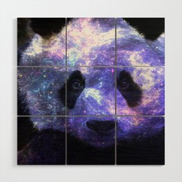 Galaxy Panda Space Colorful Wood Wall Art