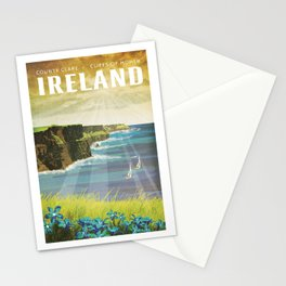 Ireland, Cliffs of Moher - Vintage Style Travel Poster Stationery Cards