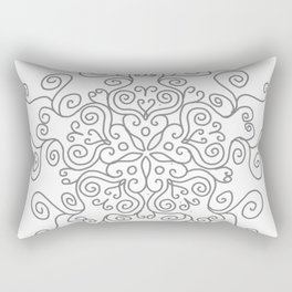 Gray Line Swirl Mandala Rectangular Pillow