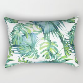 Blue Jungle Leaves, Monstera, Palm #society6 Rectangular Pillow