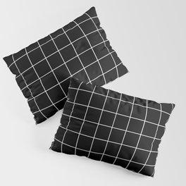 Grid Pattern Line Stripe Black and White Minimalist Geometric Stripes Lines Pillow Sham