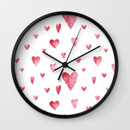 Watercolor print with hearts Wall Clock