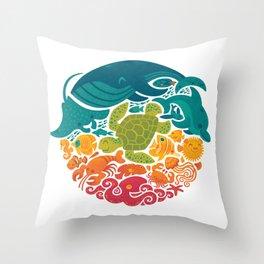 Aquatic Rainbow (white) Throw Pillow
