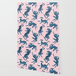 Pastel Pink & Blue Tiger Pattern Wallpaper