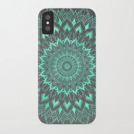 Boho turquoise watercolor floral mandala on grey cement concrete iPhone Case