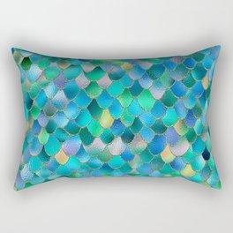 Summer Ocean Metal Mermaid Scales Rectangular Pillow