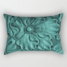 Teal Flower Tooled Leather Rectangular Pillow