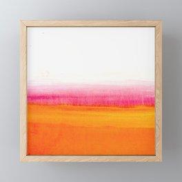 Orange Solar Sunset acrylic painting Framed Mini Art Print