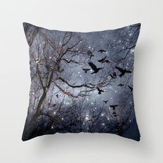 Woodland Crows And Bursting Stars Throw Pillow