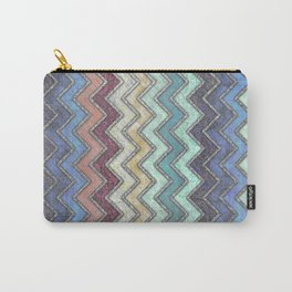Colorful Silver Chevron Pattern Carry-All Pouch