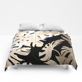 Simply Tropical Midnight Black Memphis Palm Leaves Comforters