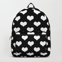 Black And White Hearts Minimalist Backpack