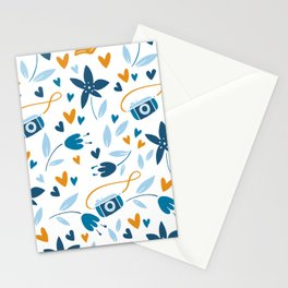 Cameras and Botanicals Modern Art Abstract Pattern Stationery Cards