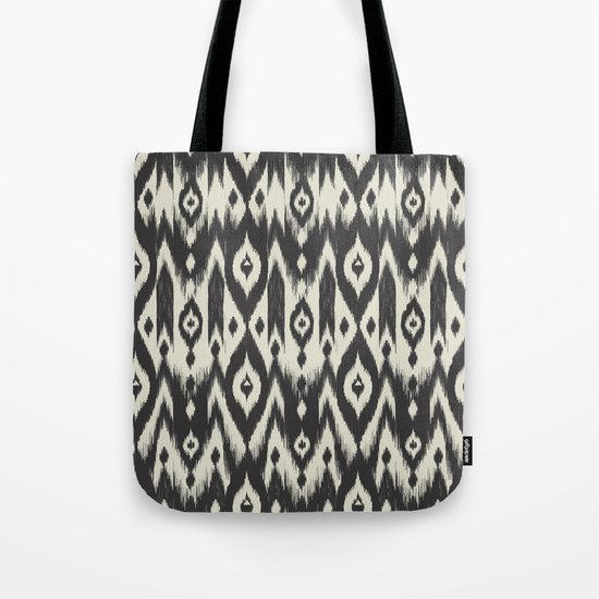Black & Cream Tribal Ikat Tote Bag
