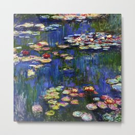 Water Lilies at Twilight impressionist painting by Claude Monet Metal Print