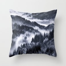 Misty Forest Mountains Throw Pillow