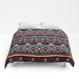 Ethnic ornament ,Black background Comforters