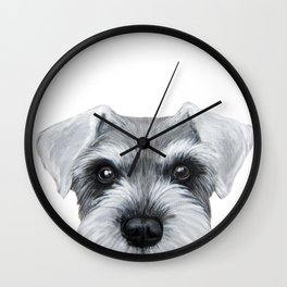 Schnauzer Grey&white, Dog illustration original painting print Wall Clock
