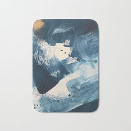 Against the Current: A bold, minimal abstract acrylic piece in blue, white and gold Badematte