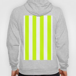 Vertical Stripes - White and Fluorescent Yellow Hoody