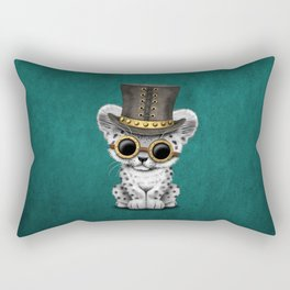 Steampunk Snow Leopard Cub on Blue Rectangular Pillow