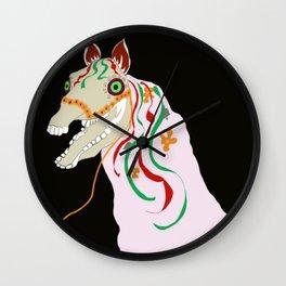 Horse head skull of Mari Lwyd celebration Wales good luck Wall Clock