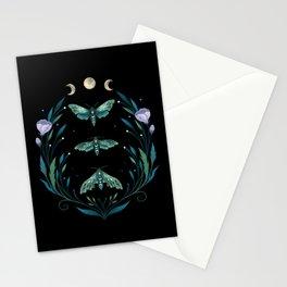 Lime Hawk Moths Night Stationery Cards