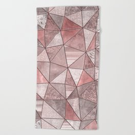 Soft Pink Coral Glamour Gemstone Triangles Beach Towel