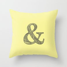 Yellow Ampersand Throw Pillow