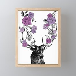 The Stag and Roses | Lilac | Purple Framed Mini Art Print