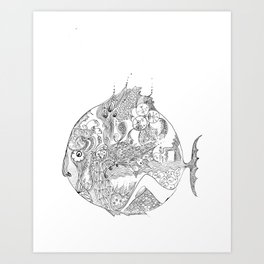 sad fish Art Print