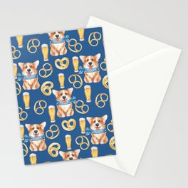 Majesty Pembroke - Happy Corgis On Octoberfest Bavaria Germany - Bavarian Blue Stationery Cards