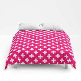 White Crosses on Hot Neon Pink Comforters