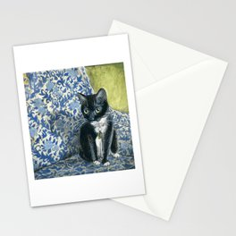 Sweet Tuxedo Cat on Blue Floral Chair Stationery Cards