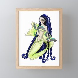 Neon Green Asian Mermaid Framed Mini Art Print