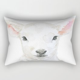 Lamb Face Watercolor Rectangular Pillow