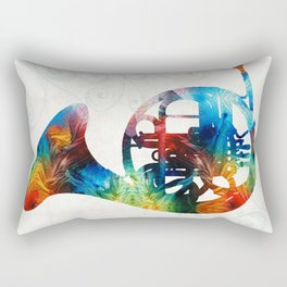 Colorful French Horn - Color Fusion By Sharon Cummings Rectangular Pillow